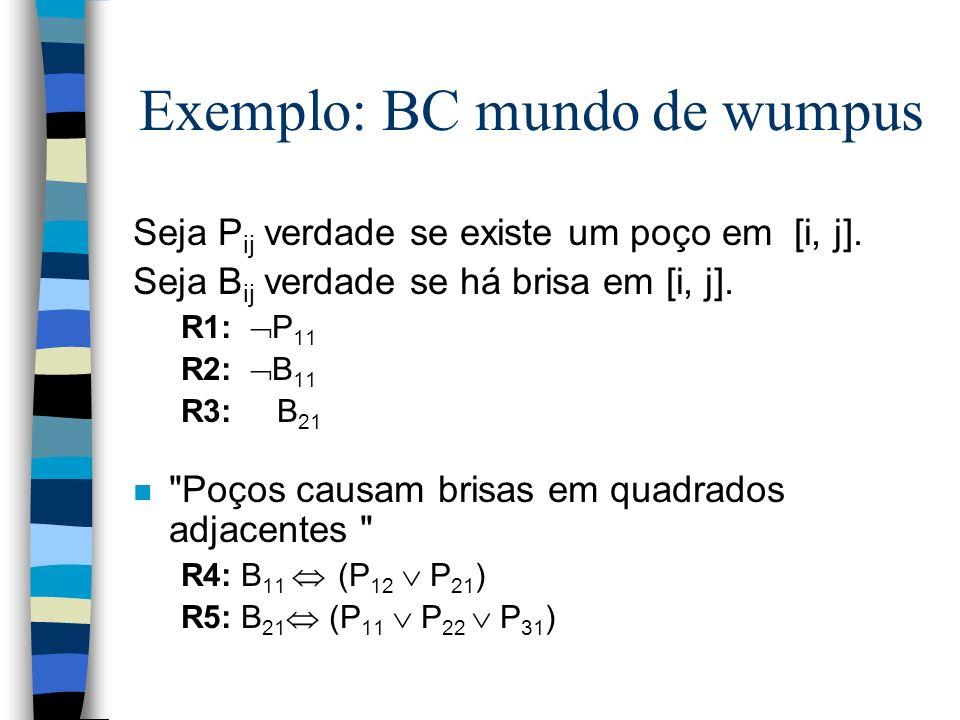 Exemplo: BC mundo de wumpus Seja P ij verdade se existe um poço em [i, j]. Seja B ij verdade se há brisa em [i, j]. R1: P 11 R2: B 11 R3: B 21 n