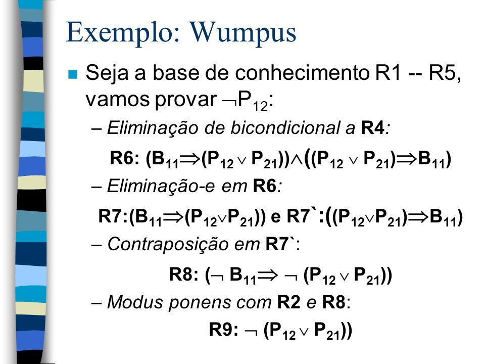 Exemplo: Wumpus n Seja a base de conhecimento R1 -- R5, vamos provar P 12 : –Eliminação de bicondicional a R4: R6: (B 11 (P 12 P 21 )) ( (P 12 P 21 )