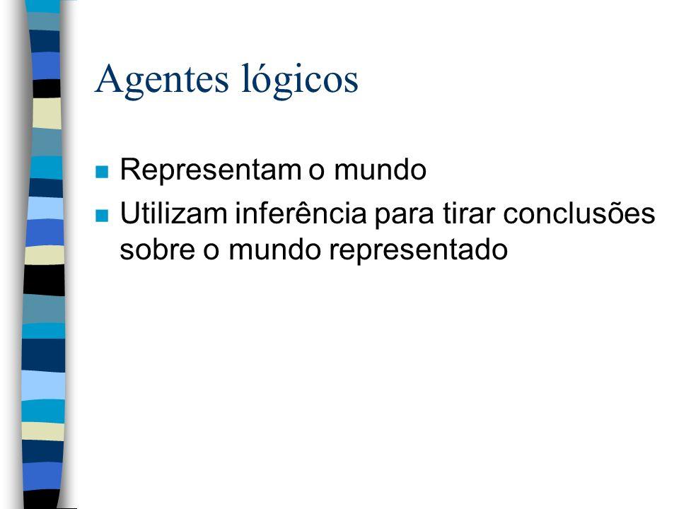 Agentes lógicos n Conhecimento é representado como sentenças em uma linguagem de representação de conhecimento; n Um conjunto de sentenças forma a base de conhecimento (BC) do agente.