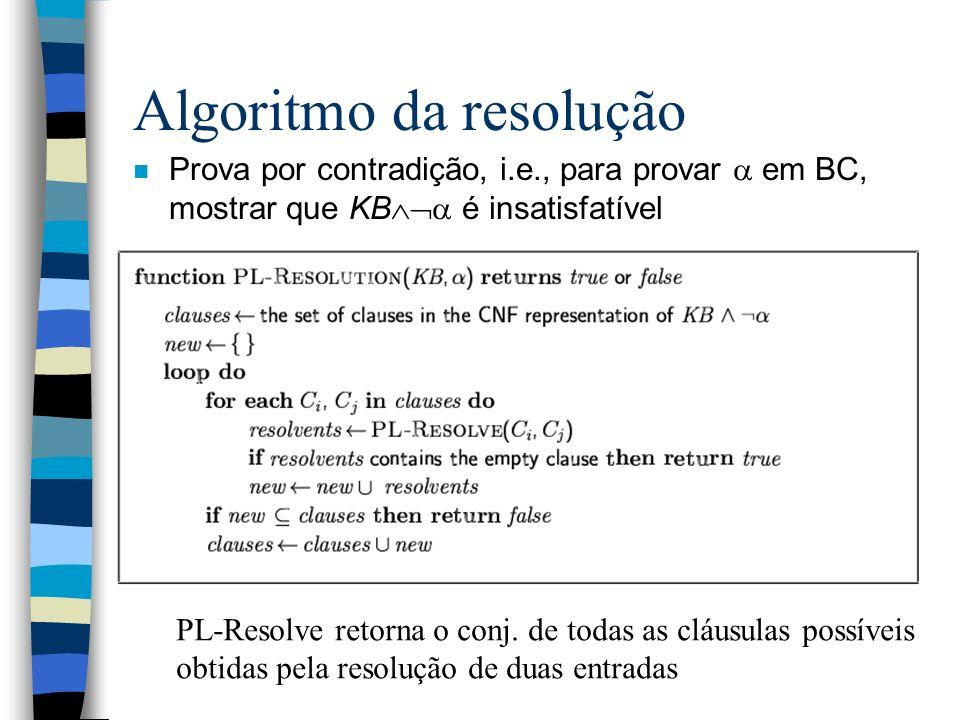 Algoritmo da resolução n Prova por contradição, i.e., para provar em BC, mostrar que KB é insatisfatível PL-Resolve retorna o conj. de todas as cláusu