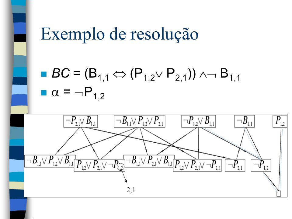 Exemplo de resolução n BC = (B 1,1 (P 1,2 P 2,1 )) B 1,1 n = P 1,2 2,1