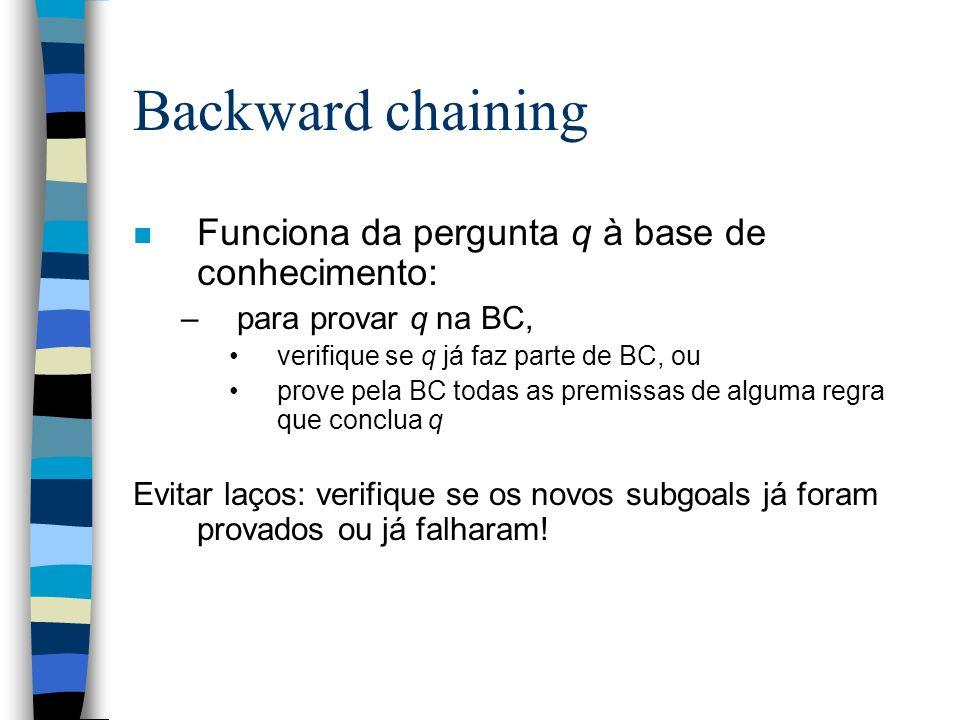 Backward chaining n Funciona da pergunta q à base de conhecimento: –para provar q na BC, verifique se q já faz parte de BC, ou prove pela BC todas as