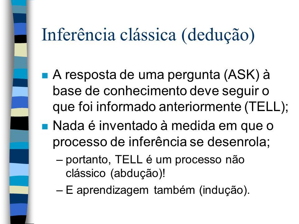 Inferência clássica (dedução) n A resposta de uma pergunta (ASK) à base de conhecimento deve seguir o que foi informado anteriormente (TELL); n Nada é