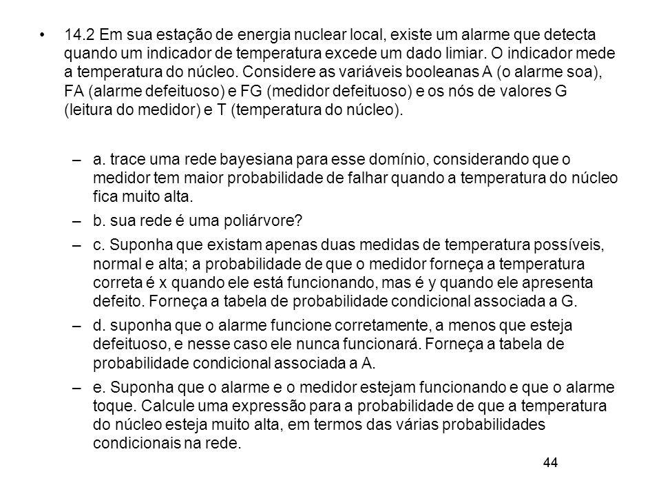 44 14.2 Em sua estação de energia nuclear local, existe um alarme que detecta quando um indicador de temperatura excede um dado limiar. O indicador me