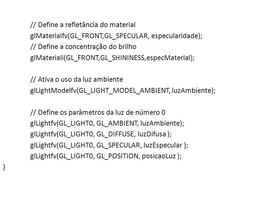 // Função callback de redesenho da janela de visualização void Desenha(void) { // Limpa a janela de visualização com a cor // de fundo definida previamente glClear(GL_COLOR_BUFFER_BIT | GL_DEPTH_BUFFER_BIT); // Chama a função que especifica os parâmetros de iluminação DefineIluminacao(); // Altera a cor do desenho para azul glColor3f(0.0f, 0.0f, 1.0f); // Função da GLUT para fazer o desenho de um torus // com a cor corrente glutSolidTorus(20.0, 35.0, 20, 40); // Executa os comandos OpenGL glutSwapBuffers(); }