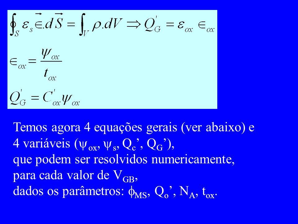 Temos agora 4 equações gerais (ver abaixo) e 4 variáveis ( ox, s, Q c, Q G ), que podem ser resolvidos numericamente, para cada valor de V GB, dados o