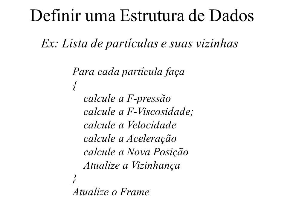 Definir uma Estrutura de Dados Ex: Lista de partículas e suas vizinhas Para cada partícula faça { calcule a F-pressão calcule a F-Viscosidade; calcule