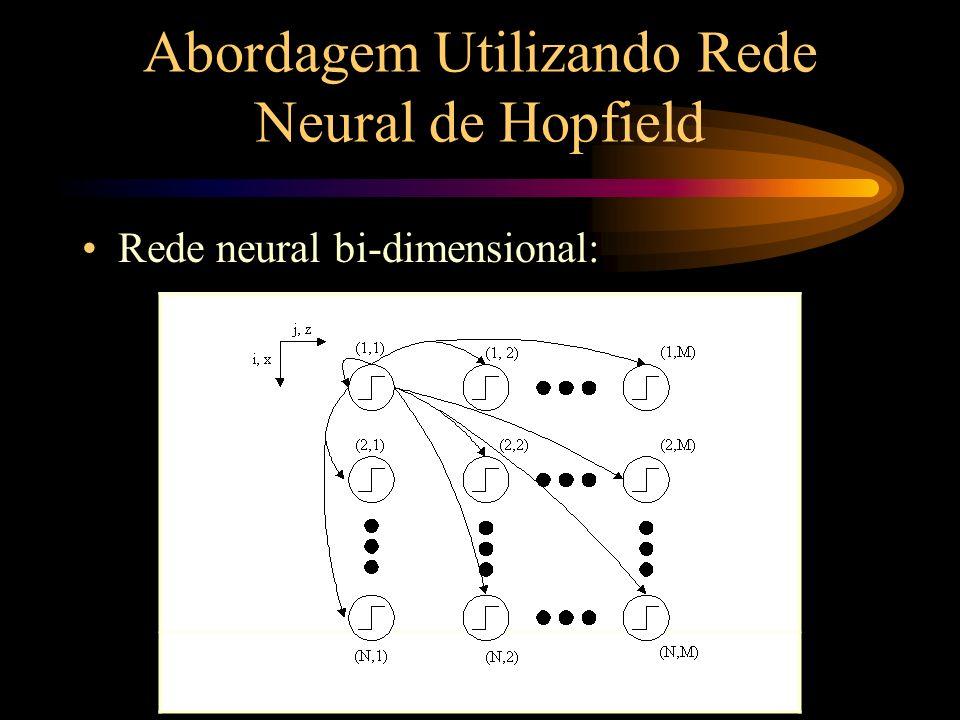 Abordagem Utilizando Rede Neural de Hopfield Rede neural bi-dimensional: