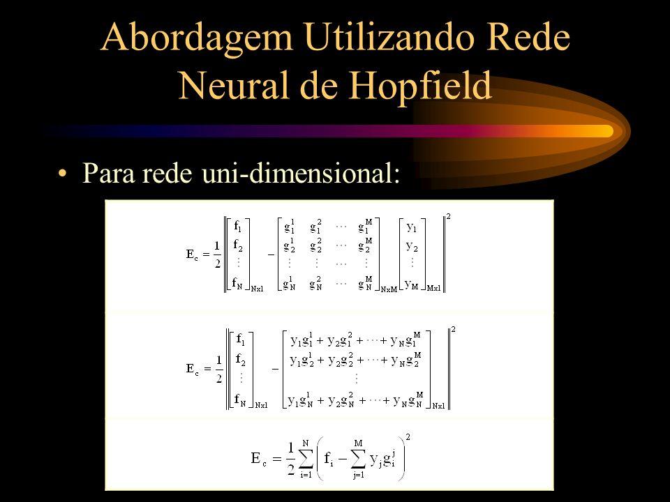 Abordagem Utilizando Rede Neural de Hopfield Para rede uni-dimensional (cont.): Temos então: