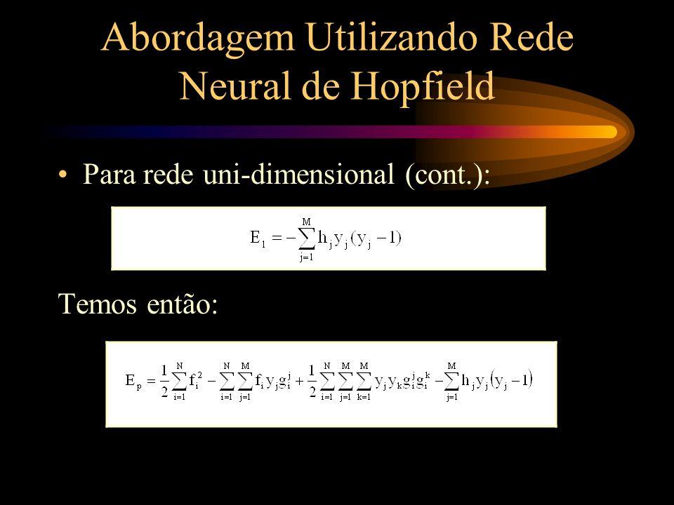 Abordagem Utilizando Rede Neural de Hopfield Para rede uni-dimensional (cont.): Igualando as expressões pseudo-energia: 1 c M, 1 d M e