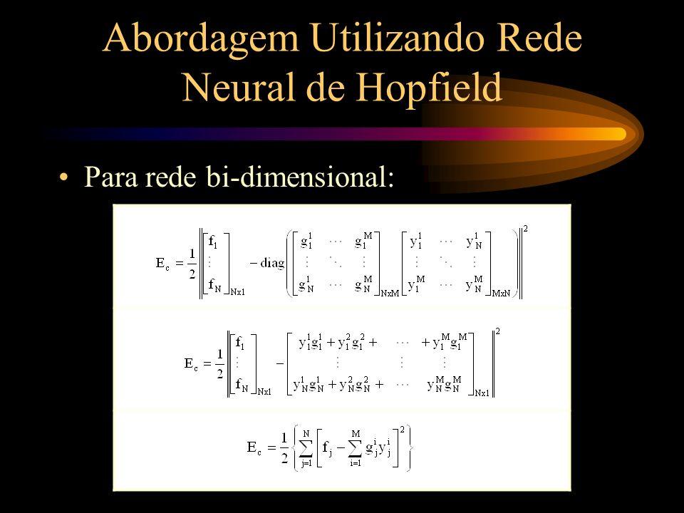 Abordagem Utilizando Rede Neural de Hopfield Para rede bi-dimensional (cont.):