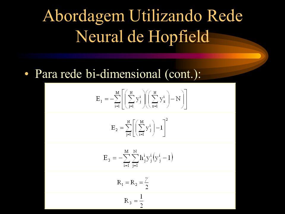 Abordagem Utilizando Rede Neural de Hopfield Para rede bi-dimensional (cont.): Igualando as expressões pseudo-energia: 1 i, x M e 1 j, z N,