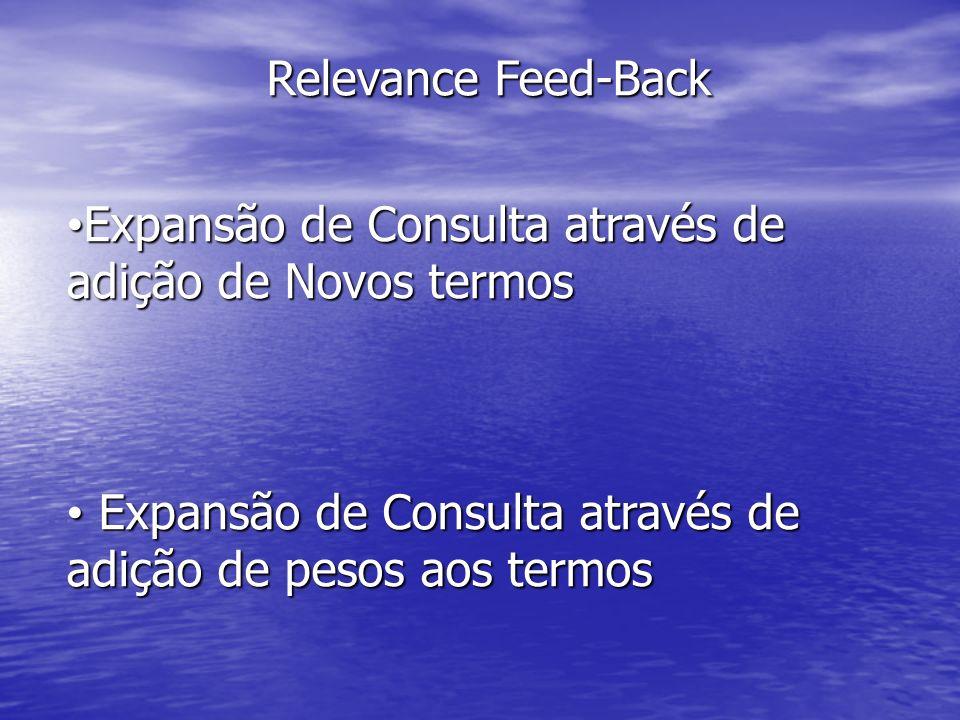 Relevance Feed-Back Expansão de Consulta através de adição de Novos termos Expansão de Consulta através de adição de Novos termos Expansão de Consulta