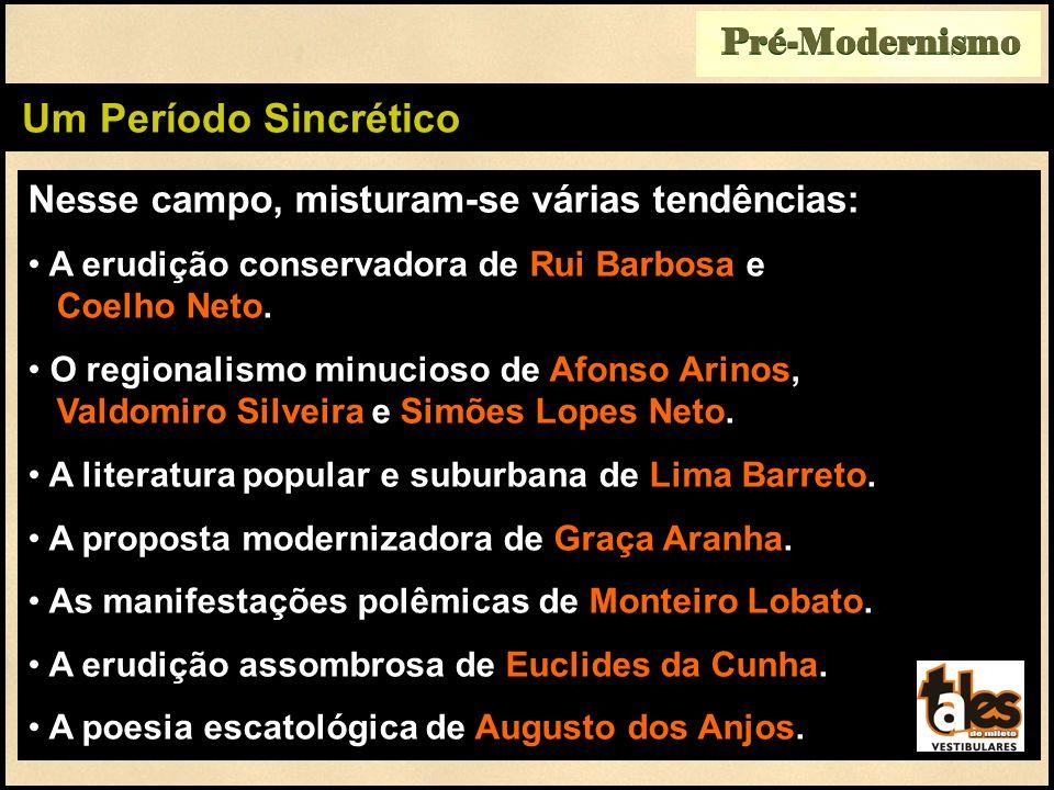 Nesse campo, misturam-se várias tendências: A erudição conservadora de Rui Barbosa e Coelho Neto. O regionalismo minucioso de Afonso Arinos, Valdomiro