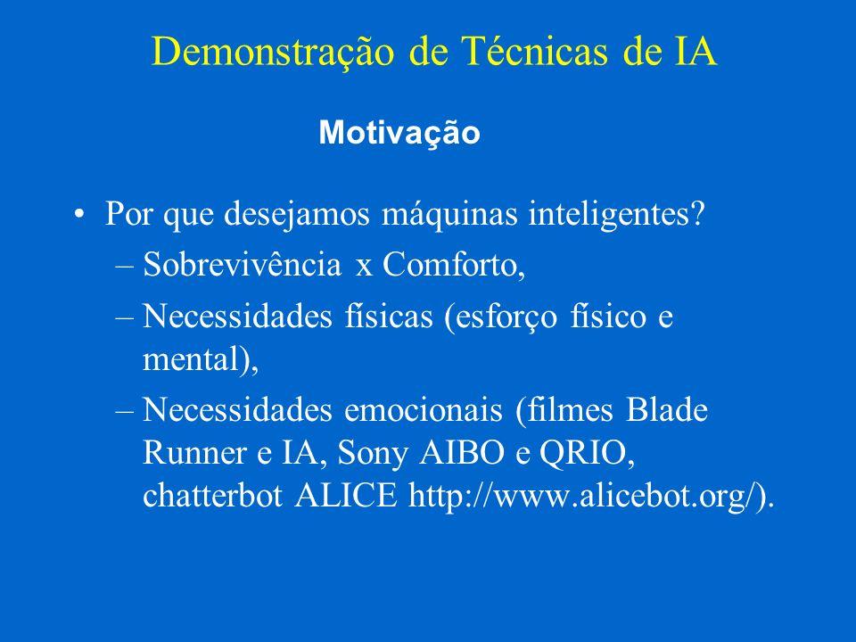 Entertainment Robot AIBO (http://www.aibo.com) Demonstração de Técnicas de IA