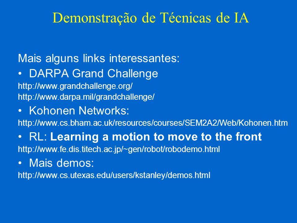 Mais alguns links interessantes: DARPA Grand Challenge http://www.grandchallenge.org/ http://www.darpa.mil/grandchallenge/ Kohonen Networks: http://ww