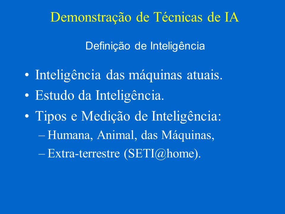 Inteligência das máquinas atuais. Estudo da Inteligência. Tipos e Medição de Inteligência: –Humana, Animal, das Máquinas, –Extra-terrestre (SETI@home)