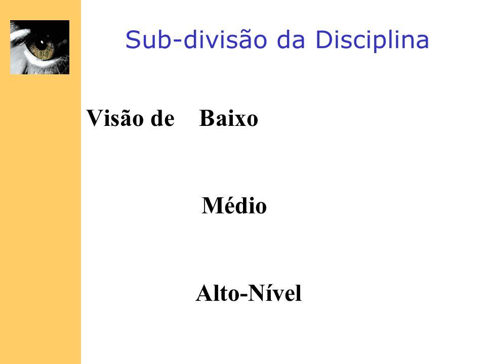 Sub-divisão da Disciplina Visão de Baixo Médio Alto-Nível
