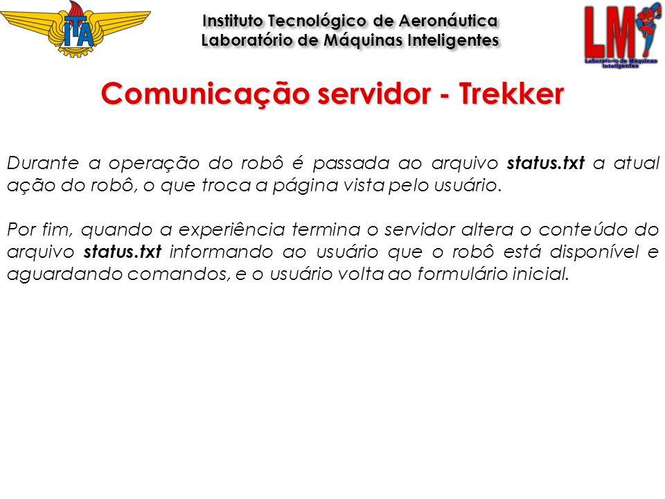 Comunicação servidor - Trekker Instituto Tecnológico de Aeronáutica Laboratório de Máquinas Inteligentes Instituto Tecnológico de Aeronáutica Laborató