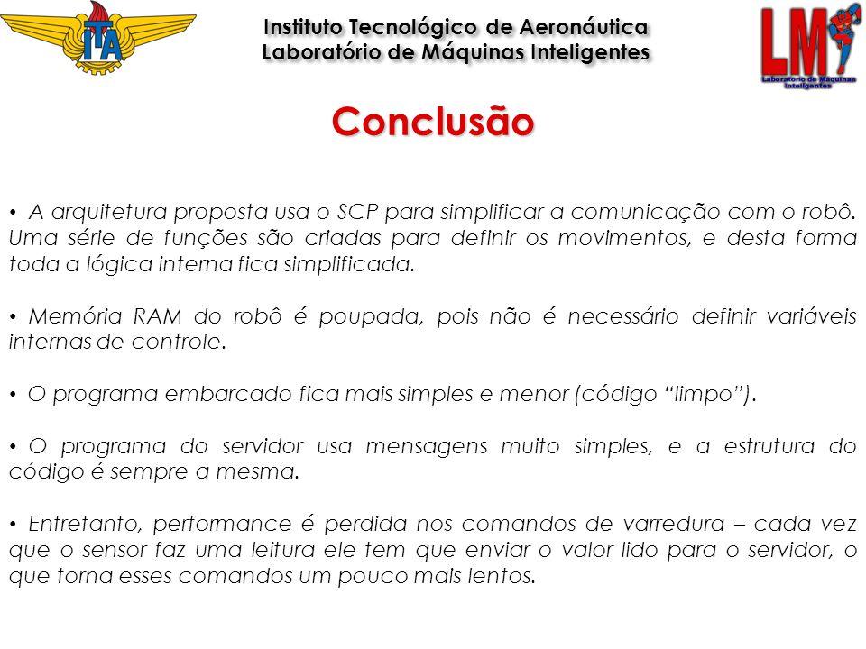 A arquitetura proposta usa o SCP para simplificar a comunicação com o robô. Uma série de funções são criadas para definir os movimentos, e desta forma