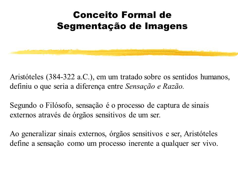 Conceito Formal de Segmentação de Imagens Aristóteles (384-322 a.C.), em um tratado sobre os sentidos humanos, definiu o que seria a diferença entre S