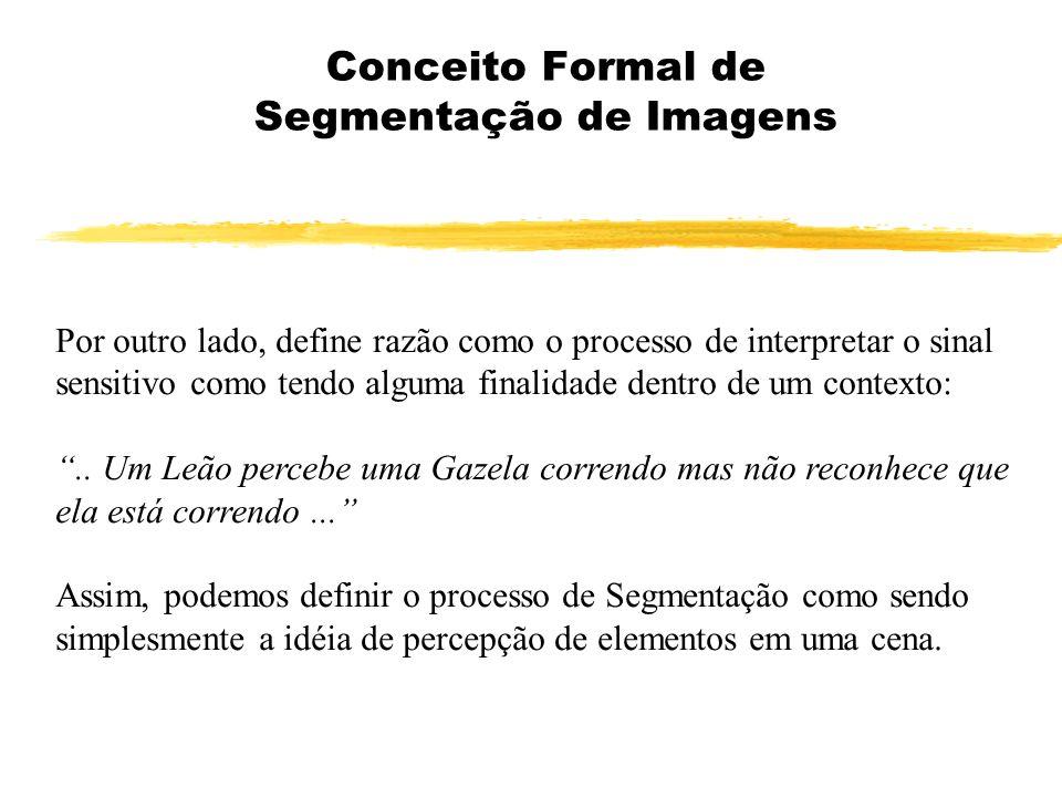 Conceito Formal de Segmentação de Imagens Por outro lado, define razão como o processo de interpretar o sinal sensitivo como tendo alguma finalidade d