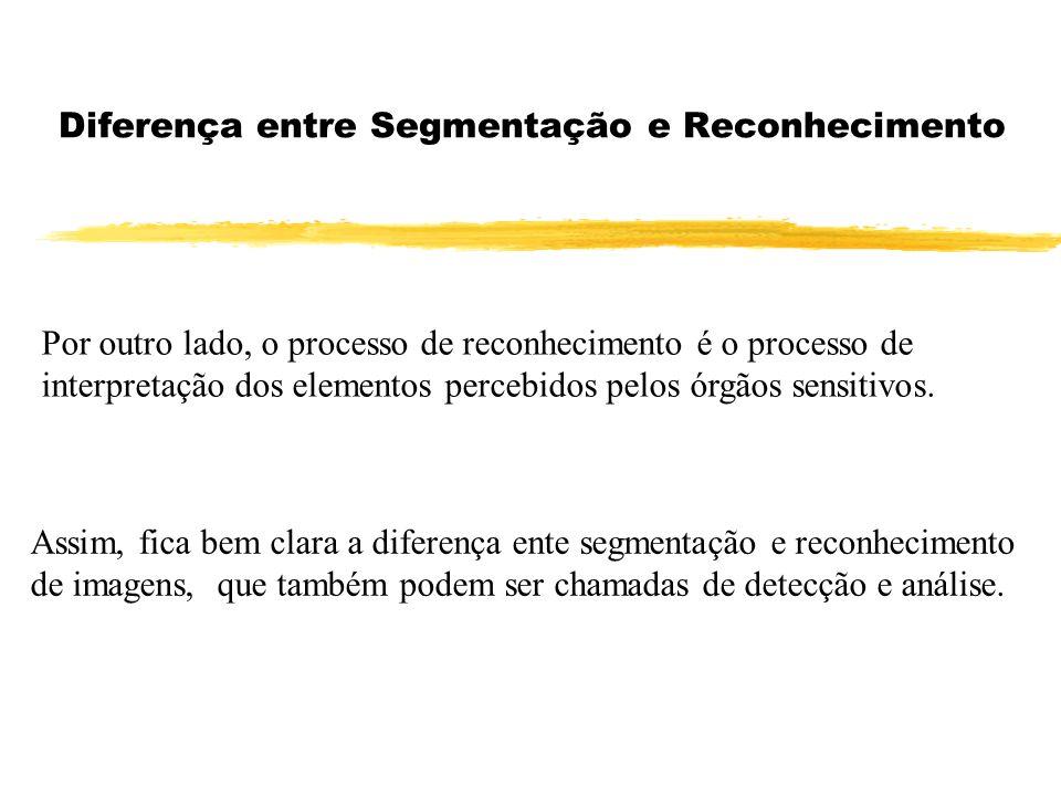Diferença entre Segmentação e Reconhecimento Por outro lado, o processo de reconhecimento é o processo de interpretação dos elementos percebidos pelos