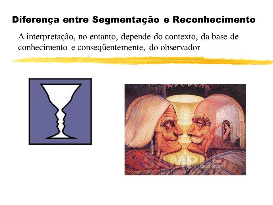 Diferença entre Segmentação e Reconhecimento A interpretação, no entanto, depende do contexto, da base de conhecimento e conseqüentemente, do observad