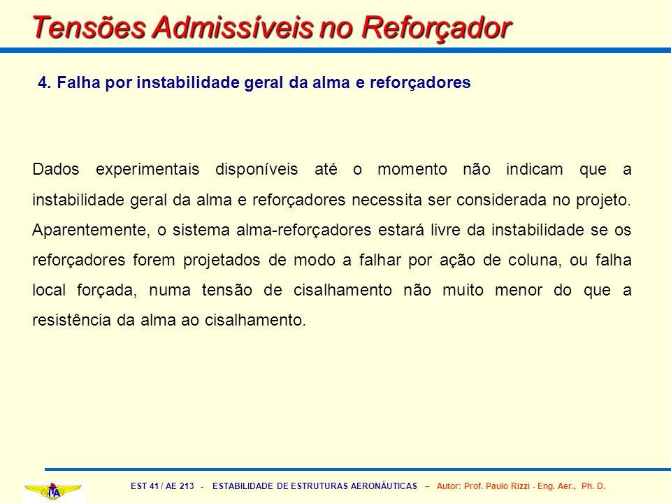 EST 41 / AE 213 - ESTABILIDADE DE ESTRUTURAS AERONÁUTICAS – Autor: Prof. Paulo Rizzi - Eng. Aer., Ph. D. Tensões Admissíveis no Reforçador 4. Falha po