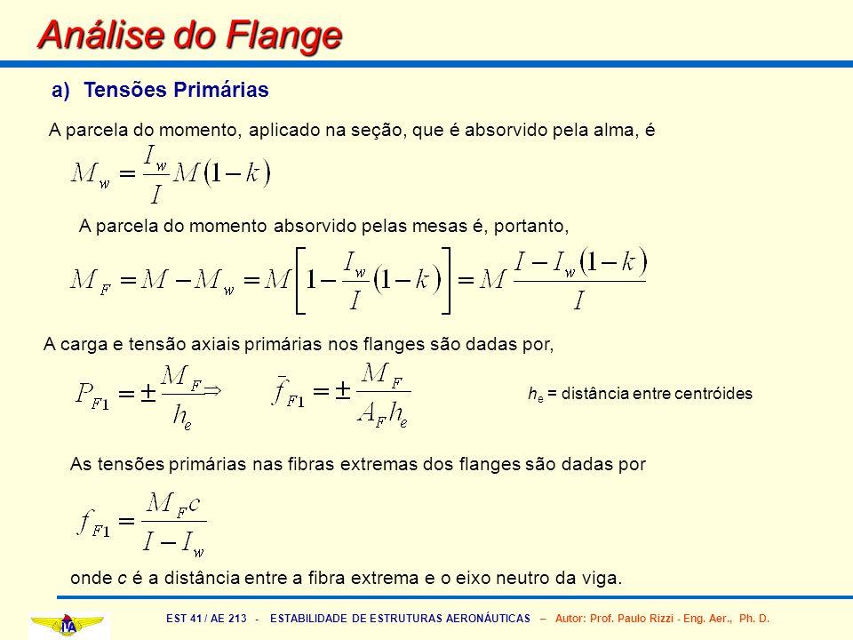 EST 41 / AE 213 - ESTABILIDADE DE ESTRUTURAS AERONÁUTICAS – Autor: Prof. Paulo Rizzi - Eng. Aer., Ph. D. As tensões primárias nas fibras extremas dos