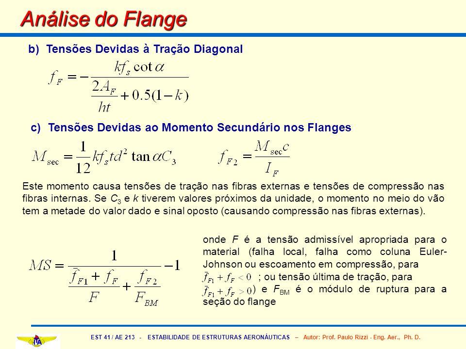 EST 41 / AE 213 - ESTABILIDADE DE ESTRUTURAS AERONÁUTICAS – Autor: Prof. Paulo Rizzi - Eng. Aer., Ph. D. Análise do Flange b) Tensões Devidas à Tração