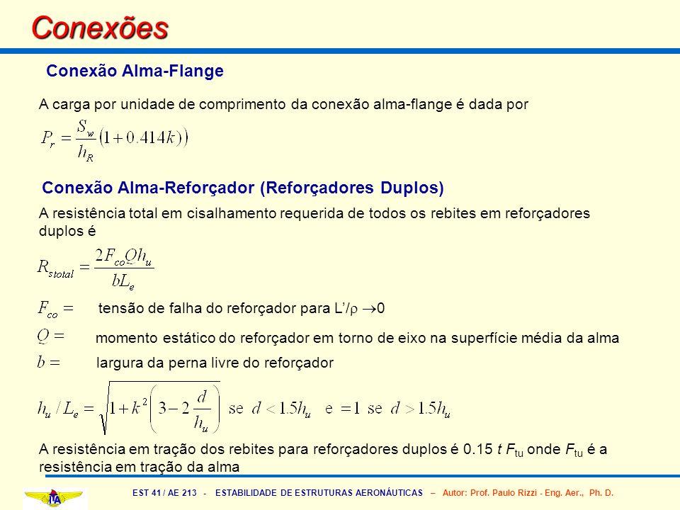 EST 41 / AE 213 - ESTABILIDADE DE ESTRUTURAS AERONÁUTICAS – Autor: Prof. Paulo Rizzi - Eng. Aer., Ph. D. Conexões A carga por unidade de comprimento d