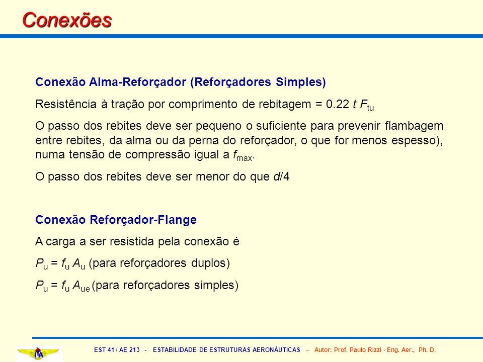EST 41 / AE 213 - ESTABILIDADE DE ESTRUTURAS AERONÁUTICAS – Autor: Prof. Paulo Rizzi - Eng. Aer., Ph. D. Conexões Conexão Alma-Reforçador (Reforçadore