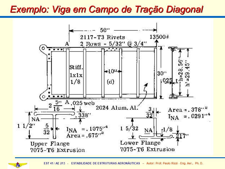 EST 41 / AE 213 - ESTABILIDADE DE ESTRUTURAS AERONÁUTICAS – Autor: Prof. Paulo Rizzi - Eng. Aer., Ph. D. Exemplo: Viga em Campo de Tração Diagonal