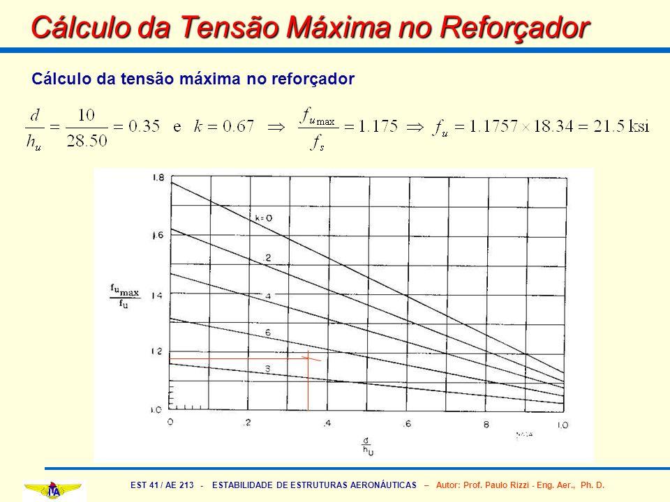 EST 41 / AE 213 - ESTABILIDADE DE ESTRUTURAS AERONÁUTICAS – Autor: Prof. Paulo Rizzi - Eng. Aer., Ph. D. Cálculo da Tensão Máxima no Reforçador Cálcul