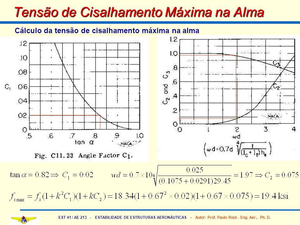 EST 41 / AE 213 - ESTABILIDADE DE ESTRUTURAS AERONÁUTICAS – Autor: Prof. Paulo Rizzi - Eng. Aer., Ph. D. Tensão de Cisalhamento Máxima na Alma Cálculo