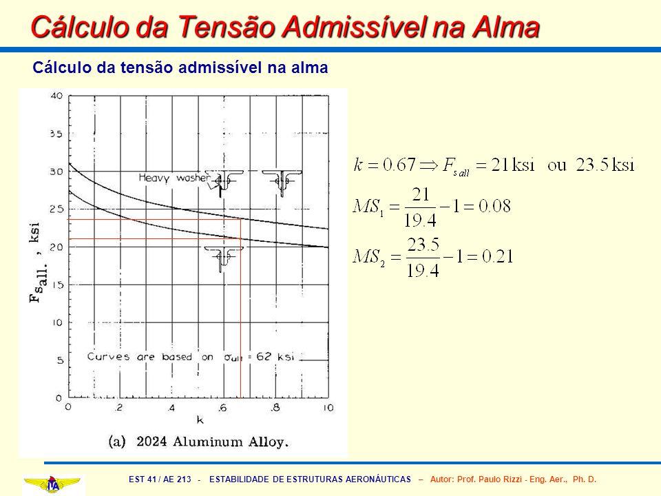 EST 41 / AE 213 - ESTABILIDADE DE ESTRUTURAS AERONÁUTICAS – Autor: Prof. Paulo Rizzi - Eng. Aer., Ph. D. Cálculo da Tensão Admissível na Alma Cálculo