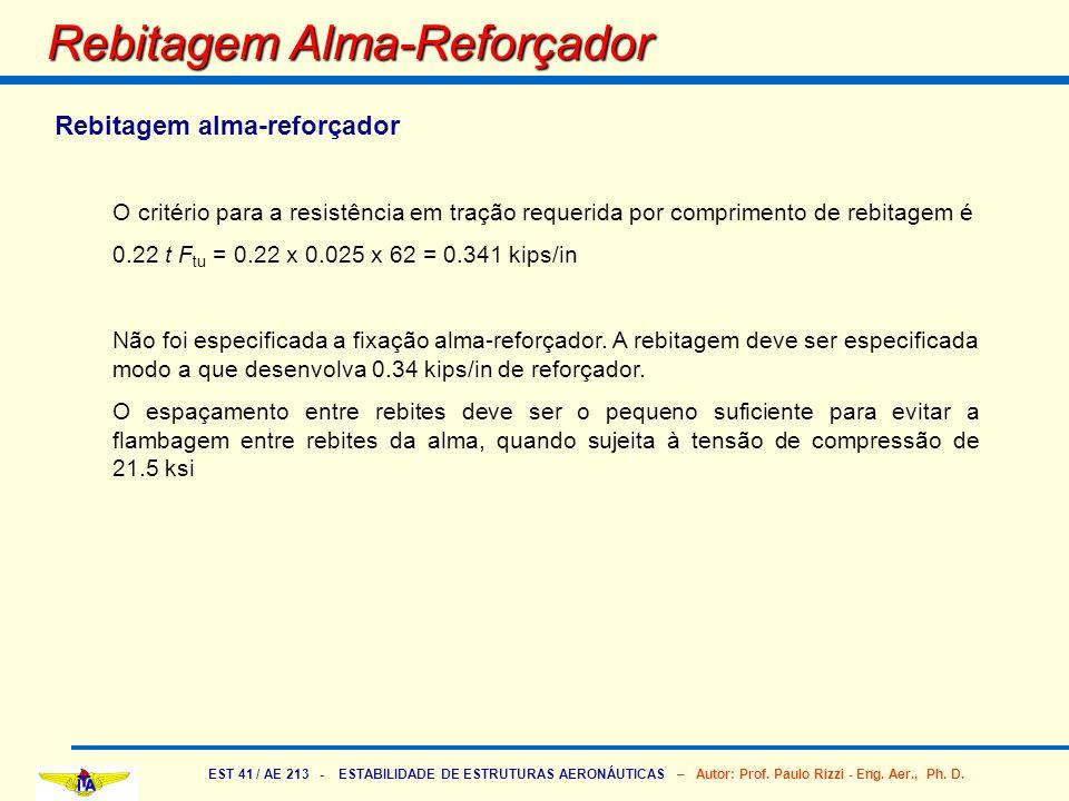 EST 41 / AE 213 - ESTABILIDADE DE ESTRUTURAS AERONÁUTICAS – Autor: Prof. Paulo Rizzi - Eng. Aer., Ph. D. Rebitagem Alma-Reforçador Rebitagem alma-refo