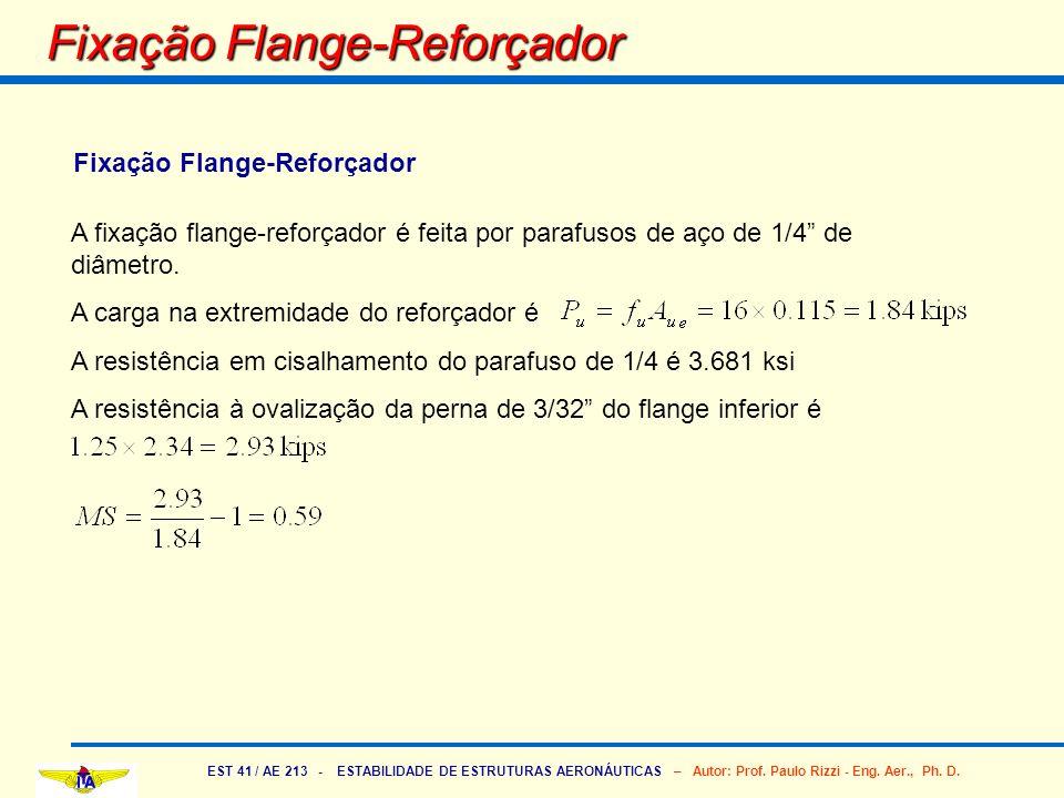 EST 41 / AE 213 - ESTABILIDADE DE ESTRUTURAS AERONÁUTICAS – Autor: Prof. Paulo Rizzi - Eng. Aer., Ph. D. Fixação Flange-Reforçador A fixação flange-re