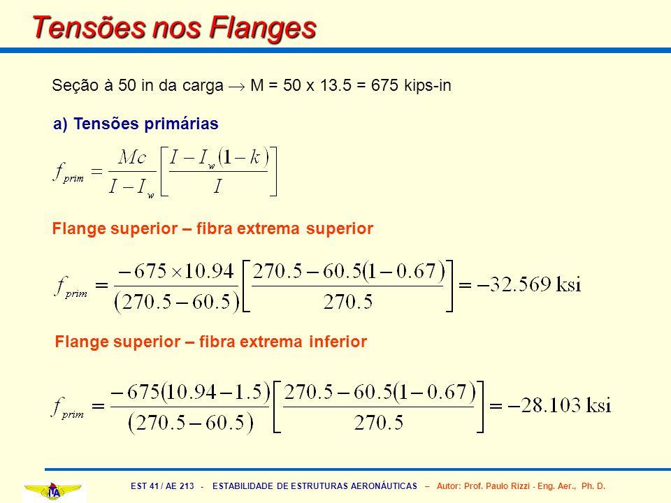 EST 41 / AE 213 - ESTABILIDADE DE ESTRUTURAS AERONÁUTICAS – Autor: Prof. Paulo Rizzi - Eng. Aer., Ph. D. Tensões nos Flanges Seção à 50 in da carga M