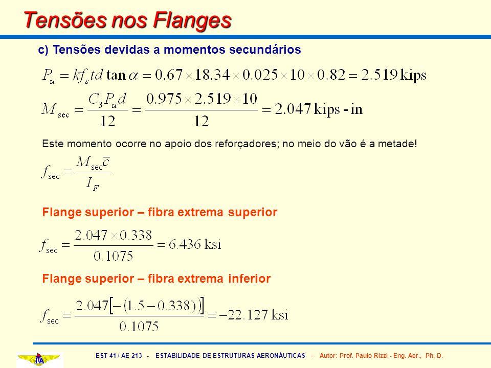 EST 41 / AE 213 - ESTABILIDADE DE ESTRUTURAS AERONÁUTICAS – Autor: Prof. Paulo Rizzi - Eng. Aer., Ph. D. Tensões nos Flanges c) Tensões devidas a mome