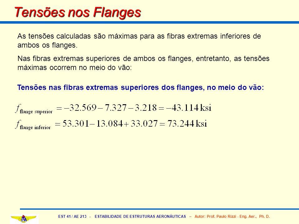 EST 41 / AE 213 - ESTABILIDADE DE ESTRUTURAS AERONÁUTICAS – Autor: Prof. Paulo Rizzi - Eng. Aer., Ph. D. Tensões nos Flanges As tensões calculadas são