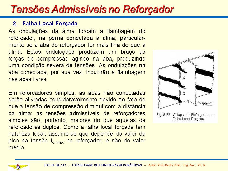 EST 41 / AE 213 - ESTABILIDADE DE ESTRUTURAS AERONÁUTICAS – Autor: Prof. Paulo Rizzi - Eng. Aer., Ph. D. Tensões Admissíveis no Reforçador 2. Falha Lo