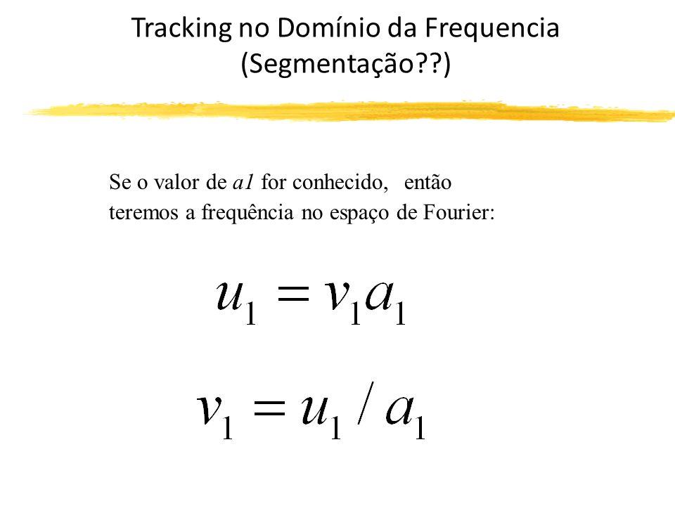 Tracking no Domínio da Frequencia (Segmentação ) Se o valor de a1 for conhecido, então teremos a frequência no espaço de Fourier: