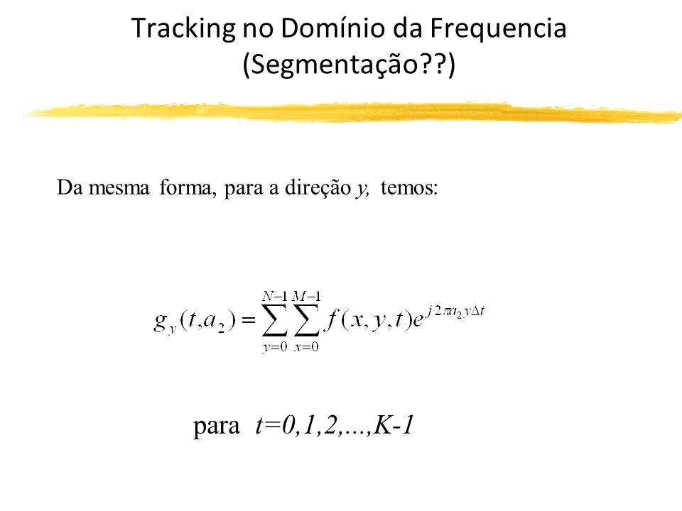 Tracking no Domínio da Frequencia (Segmentação ) Da mesma forma, para a direção y, temos: para t=0,1,2,...,K-1