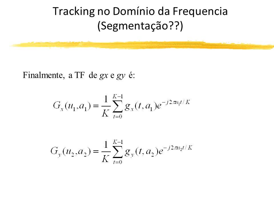 Tracking no Domínio da Frequencia (Segmentação ) Finalmente, a TF de gx e gy é: