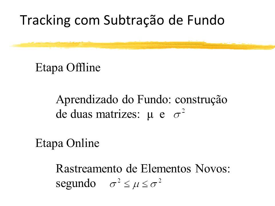 Tracking com Subtração de Fundo Etapa Offline Etapa Online Rastreamento de Elementos Novos: segundo Aprendizado do Fundo: construção de duas matrizes: μ e