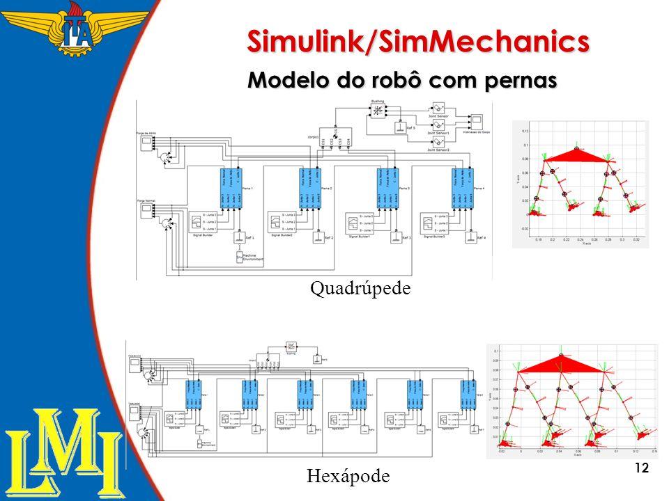 12 Simulink/SimMechanics Modelo do robô com pernas Hexápode Quadrúpede