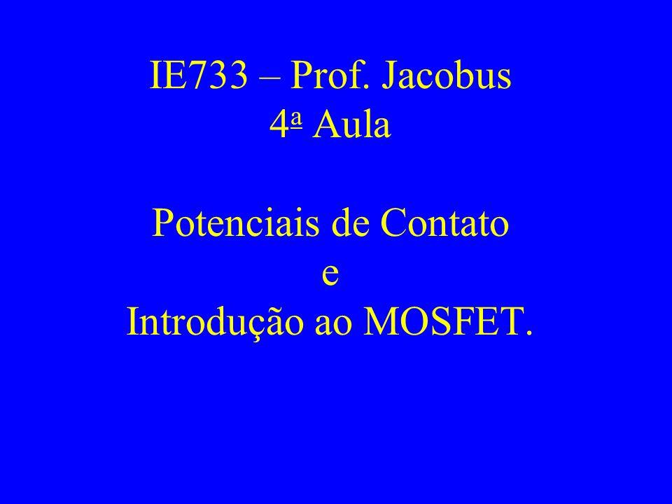 IE733 – Prof. Jacobus 4 a Aula Potenciais de Contato e Introdução ao MOSFET.