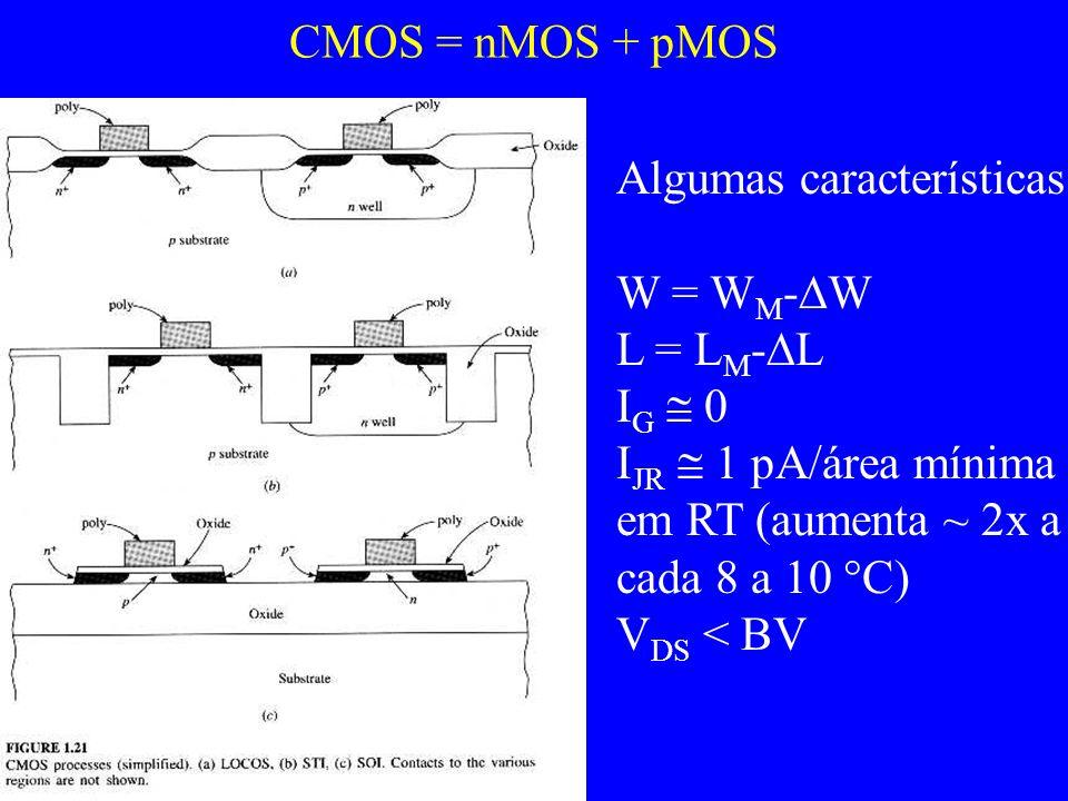 CMOS = nMOS + pMOS Algumas características: W = W M - W L = L M - L I G 0 I JR 1 pA/área mínima em RT (aumenta ~ 2x a cada 8 a 10 C) V DS < BV